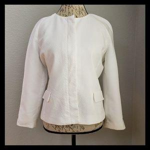 Liz Claiborne White Collarless Summer Jacket